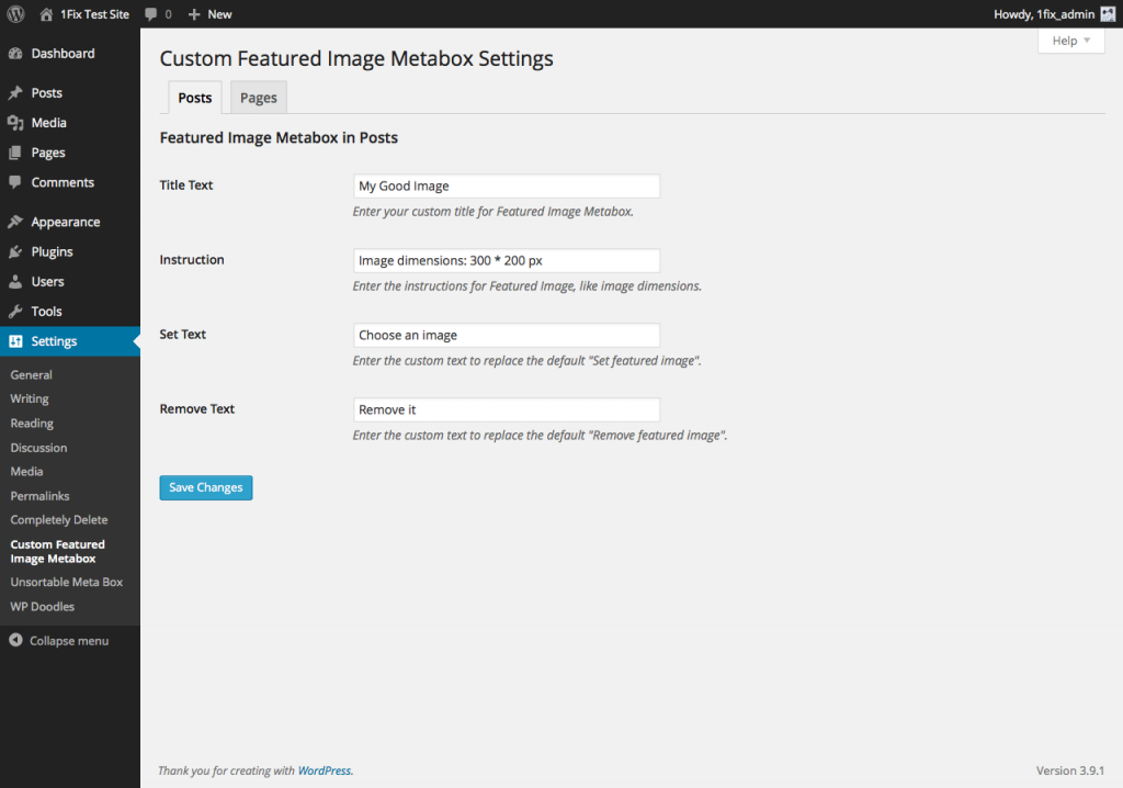 A settings page for Custom Featured Image Metabox